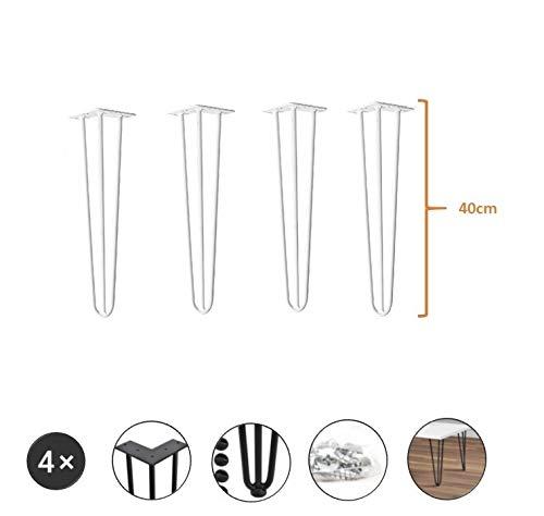 4er Set Tischbeine aus Metall - hairpin legs perfekt geeignet für Esstisch, Couchtisch, Schreibtisch & mehr (40 cm, Weiß)