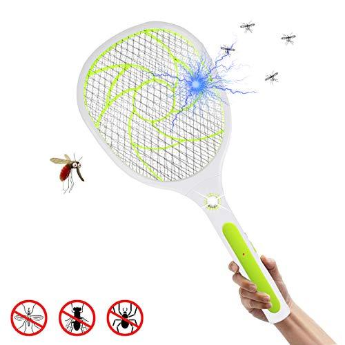 EXTSUD Elektrische Fliegenklatsche Fliegenfänger Moskito Zapper, Insekten Mörder,USB Wiederaufladbar,2800 Volt,Doppelte Schichten Mesh Schutz