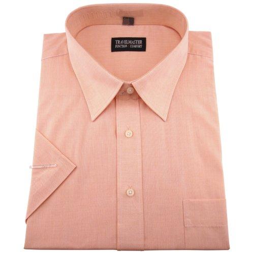 Travelmaster Herren Business & Freizeit Kurzarm Hemd mit Brusttasche - Farbe lachs - Hemd Gr.45/46 XXL