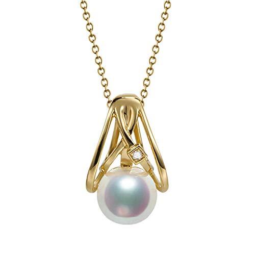 AmDxD Collares de oro de 18 quilates para mujer, galaxia con perlas Akoya de 8 mm, collar de boda, collar de compromiso, regalo de fiesta de cumpleaños con exquisita caja para mujeres y mamá
