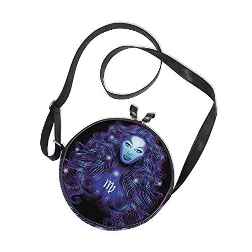Constellation Zodiac Signs Virgo Round Crossbody Bag Messenger Purse