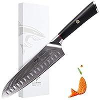 mad shark coltello santoku di damasco- coltelli da cucina pro 8 pollici, coltello in acciaio di migliore qualità con impugnatura ergonomica, scelta migliore per cucina e ristorante domestici
