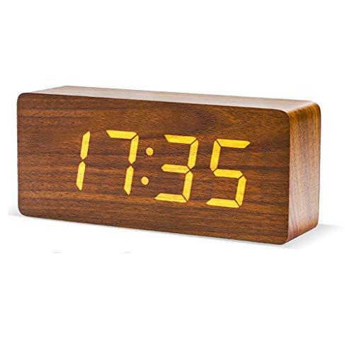 Fikujap Reloj de Alarma de Madera, Pantalla LED, con función de Temperatura de Tiempo de Snooze, para la Oficina de Dormitorio de la Sala de Estar,C