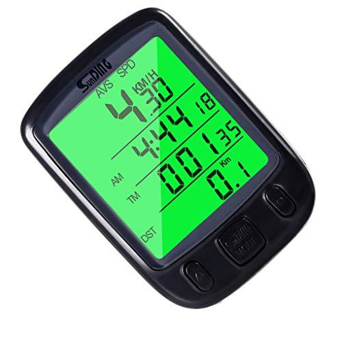 Guangcailun para Bicicleta Cuentakilometros Velocímetro Verde de retroiluminación LCD Grande de visualización...