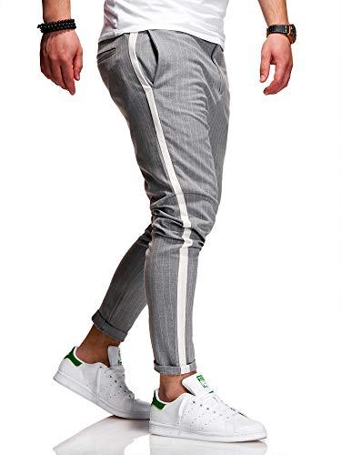 behype. Herren Chino-Hose Nadelstreifen-Hose Side-Stripe Anzugs-Hose 80-0130 Hellgrau W36