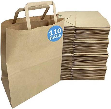 Reli Paper Bags 110 Pcs Bulk 8 x4 5 x10 25 Brown Paper Bag with Handles Kraft Paper Gift Bags product image