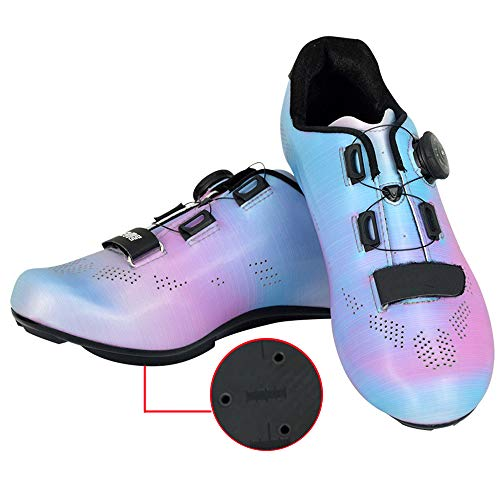 JINFAN Men's Road Cycling Shoes - Spin Shoes With Compatible Cleat Peloton Shoe With SPD And Delta For Men Lock Pedal Bike Shoes,Blue-7UK=41EU=8US