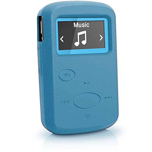 iGadgitz U4294 Silikon-Schutzhülle Kompatibel mit Sandisk Sansa Clip Jam MP3 SDMX26-008G (2015) - Blau