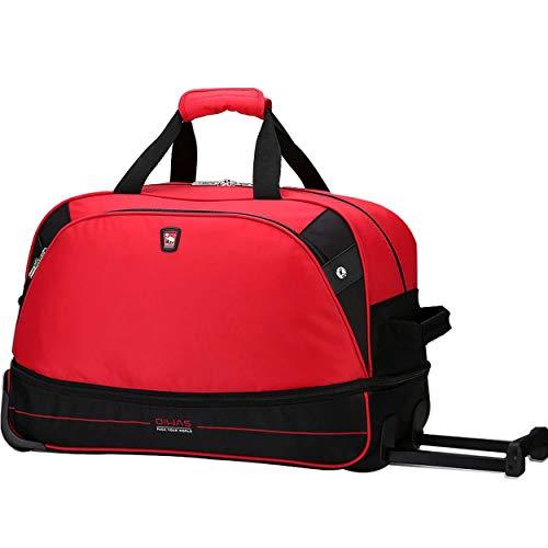 ボストンキャリー 大容量 キャリーバッグ 機内持ち込み ボストンバッグ 旅行バッグ きゃりーばっく トラベルバッグ 防水 キャスター付き ボウリングバッグ レッド 出張 通学 2way レディース メンズ コンパクト(キャリーバッグ レッド)