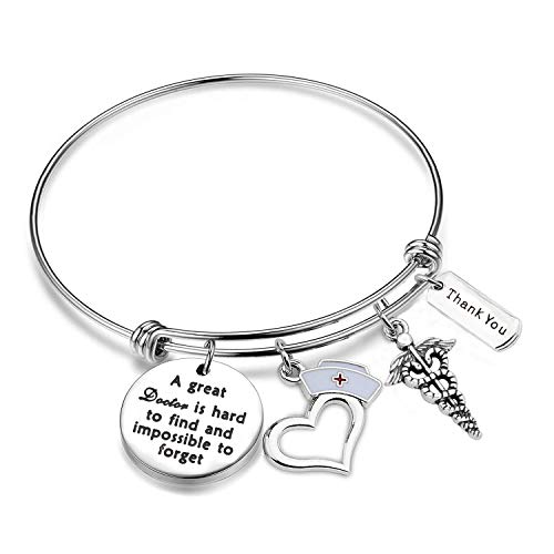 Doctor Appreciation Bracelet A Great Doctor is Hard to Find and Impossible to Forget Charm Bangle Thank you Doctor Gift (Bracelet)