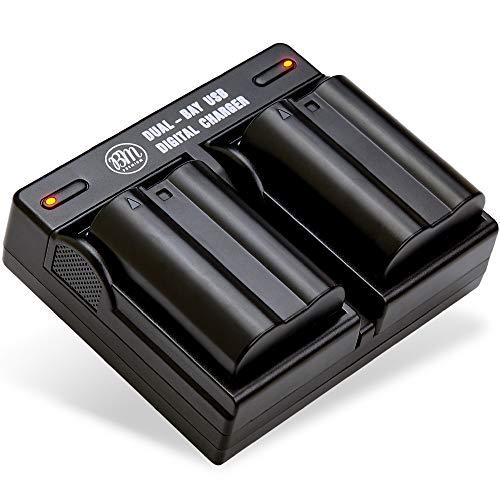 BM Premium 2 Pack of EN-EL15B Batteries and Dual Battery Charger for Nikon Z6, Z7, D780, D850, D7500, 1 V1, D500, D600, D610, D750, D800, D800E, D810, D810A, D7000, D7100, D7200 Digital Cameras