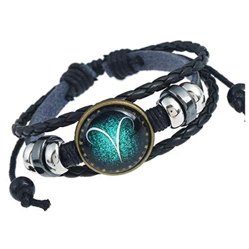 Longyangqk Sternzeichen Sternbild Astrologie Armband Charm Leder Armband Armreif (Widder)