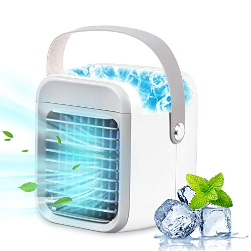 Portable Air Conditioner,Sagekia Evaporative Air Conditioner 3 Speeds Fan with 7 Colors LED Light Water Tank USB Cordless Personal Air Cooler with Handle for Home/Office/Dorm/Camping[2021 New Edition]