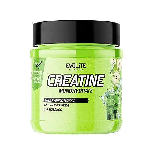 Evolite Nutrition Creatina Monoidrata 500g - Creatina Polvere - Creatine Monohydrate - Integratori Palestra - Creapure Creatine - Integratore Massa Muscolare (Mela verde)