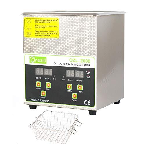 Panel de control digital limpiador ultrasónico con cesta y temporizador, para limpiar circuitos impresos, herramientas de tatuaje, joyas, gafas, relojes, prótesis dentales (2L)