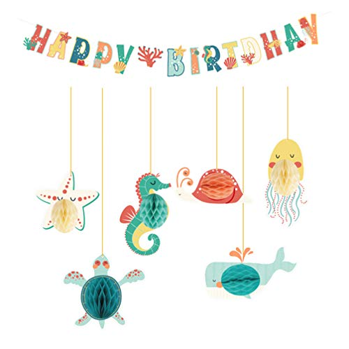 KESYOO 7Pcs Happy Birthday Banner Marine Animal Sea Horse Star Hanging Ornamnet Ocean Theme Party Supply for Kid Under Sea Theme Party Decor (Assorted Color)