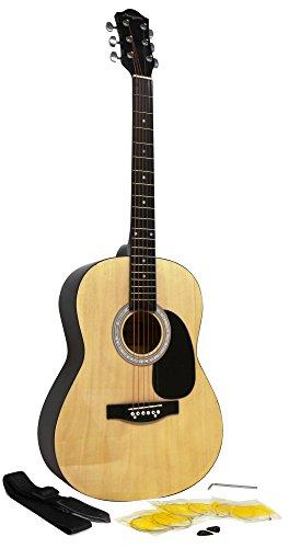Martin Smith Kit di Chitarra Acustica con Plettri di Chitarra Chitarra Stringhe di Cinghia della Chitarra Naturale