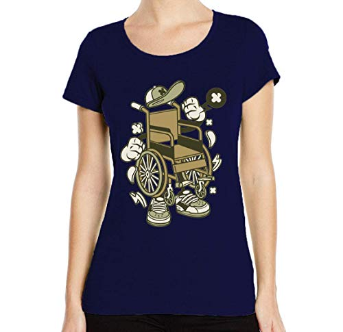 Iprints dames T-shirt Cartoon Style Wheelchair Graphic ronde hals