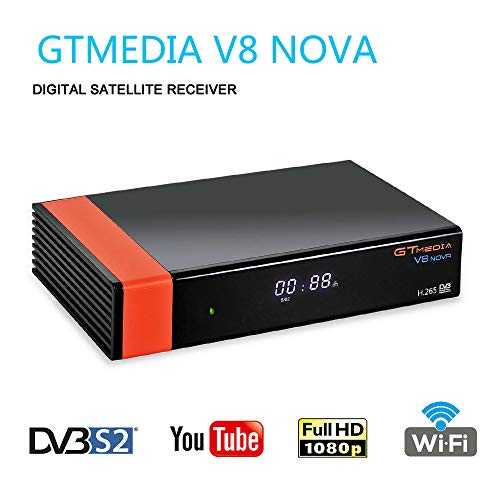GT Media V8 Nova DVB-S2 Satélite Receptor de TV Digital Decodificador con Wi-Fi Incorporado / SCART / 1080P Full HD / FTA Soporte Youtube,CC CAM, Newcam, PVR Ready, PowerVu Dre Biss Clave