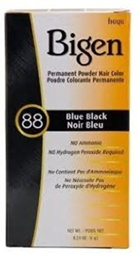Bigen Permanent Powder Hair Color 88 Blue Black 1 ea (Pack of 3)