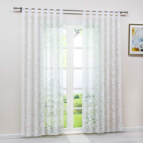 Heichkell Voile Gardinenschal mit Schlaufen Transparent Vorhang mit Ausbrenner Design Wohnzimmer Gardine 1PC Store BxH 140x245cm Weiß