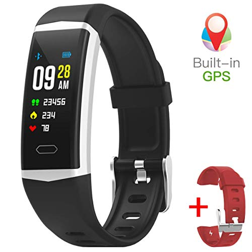 gandley Fitness Tracker with GPS Built-in for Men with Blood Pressure Monitor IP68 Waterproof Smart Bracelet for Women Kids + Free Wristband