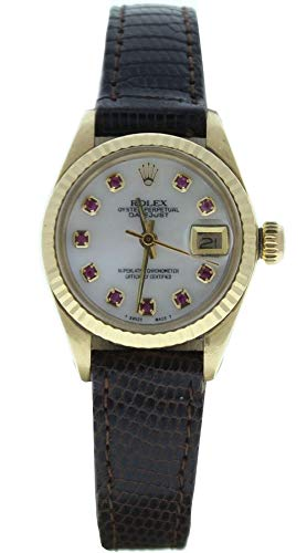 Rolex-Ladys-18k-Gold-Datejust-Watch-Factory-Leather-Strap-with-Custom-Added-MOP-Ruby-Dial-Fluted-Bezel-Preowned