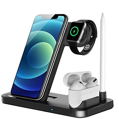 Kabelloses Ladegerät, 4 in 1 Induktive ladestation für Apple Watch, Airpods Pro, iPhone 12/SE/11/X/XR/Xs Max/8, Samsung Galaxy S20/S10(Schwarz)