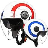 Dgtyui Casco jet moto casco aperto retro personalità casco moto doppio parasole rivestimento interno antiriflesso -rosso X XL