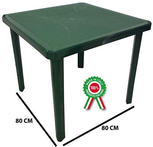 SF SAVINO FILIPPO Tavolo tavolino Quadrato 80x80 Nettuno in Dura Resina di plastica Verde con Foro per ombrellone per Esterno casa Balcone Bar sagra da Giardino