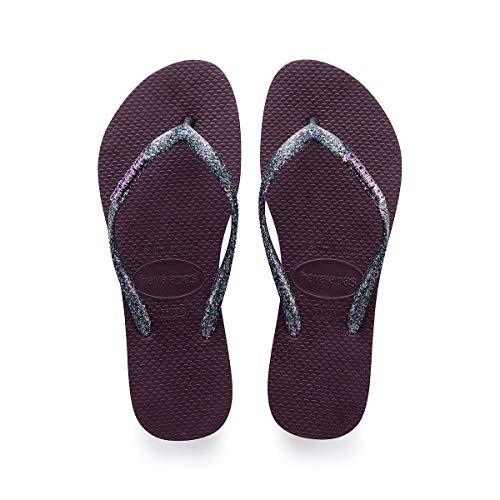 Havaianas Women's Slim Logo Metallic Flip Flop Sandal, Aubergine, 5/6 M US