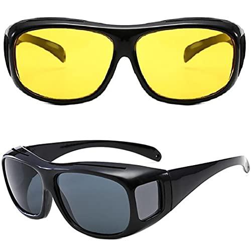 Retoo Nachtsichtbrille und UV Sonnenbrille für Tag- und Nachtfahrten, Ultraleichter Brille zum Autofahren und Radfahren mit filtern Blendende Blendung durch Scheinwerfe, Blendschutz, 2 Stück, Schwarz