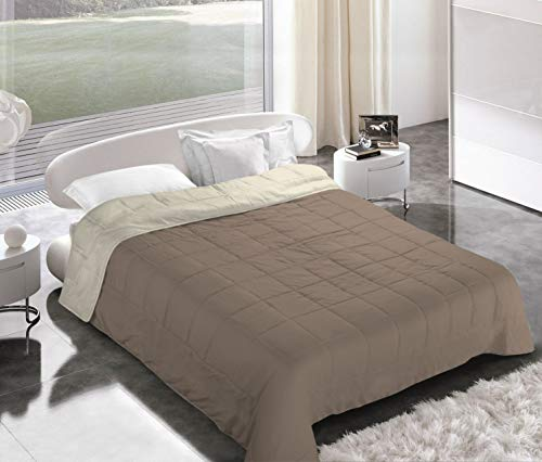 Italian Bed Linen Piumino Estivo, Microfibra, Tortora/Panna, 2 Posti
