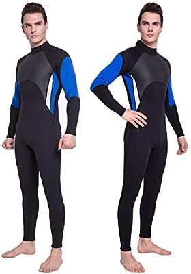 DEHAI Men Women's Thermal Wetsuits Full Suit Sleeves 3mm Neoprene Youth Adult's Diving Swimming Snorkeling Surfing Scuba Jumpsuit Warm Swimwear (3mm Full Men Wetsuit - Blue/Black, M)