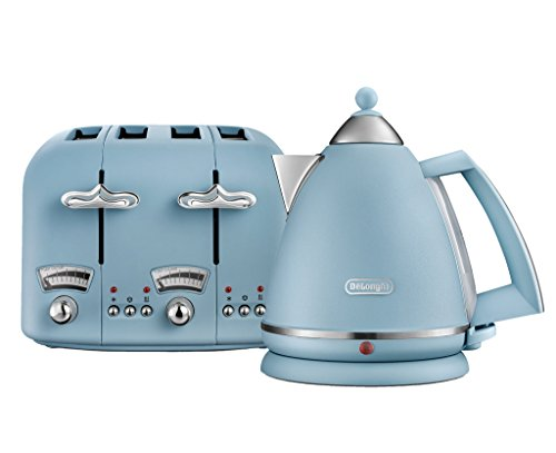 De'Longhi Argento Flora KBX3016 Kettle (3kW) and CTO4 4-Slice Toaster (1800W) (Blue)