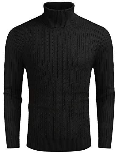 COOFANDY Herren Pullover Rollkragenpullover Feinstrick Langarmshirt Regular fit Freizeit Basic Einfarbig Sweater Männer