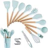 HOUHOU Cocina Utensilios de conjunto con tenedor, cuchara de silicona Cocinar Espátula mango de madera, Espátula for utensilios de cocina antiadherente, luz azul de silicona utensilios de cocina Utens