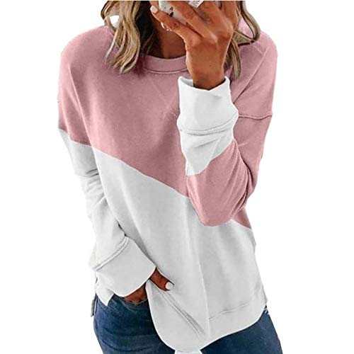 HOSD top Women's Color-Blocking Long-Sleeved Round Neck Color Contrast Sweater T-Shirt Pink
