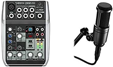 BEHRINGER XENYX Q502USB & Audio-Technica AT2020 Cardioid Condenser Studio XLR Microphone, Black, Ideal for Project/Home Studio Applications