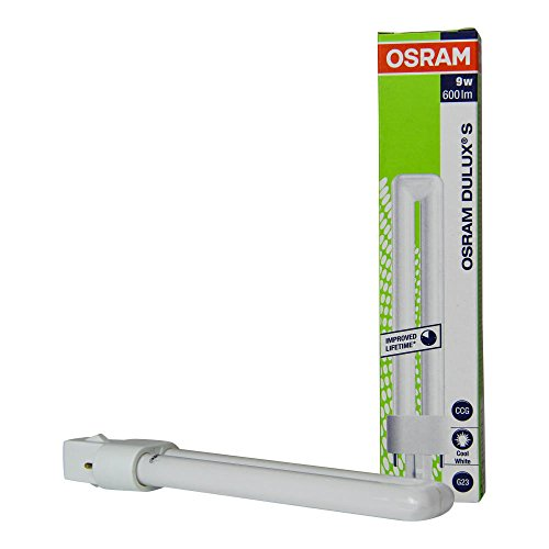 Osram Dulux S - Lote de bombillas de bajo consumo (10 unidades, 9 W/840, 2 pines, 4000 K, luz blanca fría)