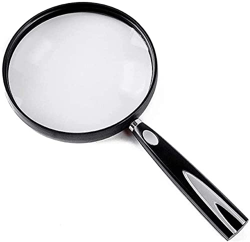 WHZG Magnifying Glass Reading Magnifier Hand-held Reading Magnifier 3/4/6 Times Optical Lens 130MM Magnifier Magnifying Glasses Magnifier with Light (Size : 4X)