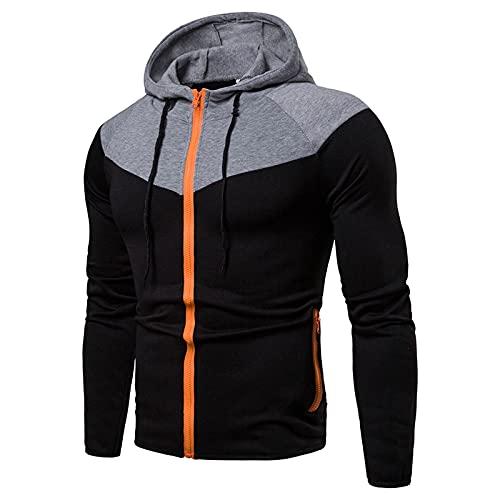 Men's Pocket Retro Pullover Color Block Zipper Sweatshirts Top Slim Fit Lightweight Fleece Hooded Sweater Zip Up Hoodies