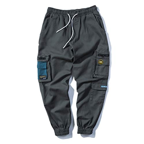 Sconosciuto Pantaloni da Uomo Streetwear Tute Coulisse Vita Elastica Allentato Multi-Tasca Hip Hop Pantaloni Casual Cargo Harajuku