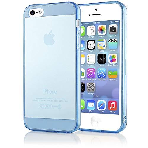 NALIA Funda Compatible con iPhone 5 5S SE, Ultra-Fina Protectora Movil Carcasa Transparente Silicona Gel Bumper Estuche, Goma Cubierta Delgado Clear Smart-Phone Cover Flexible Case - Azul