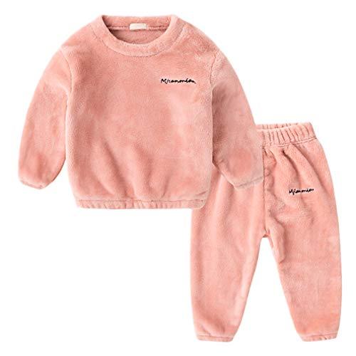 DEBAIJIA Bebé Ropa de Casa 2-12T Infantil Homewear Niños Pijama Niña Ropa de Dormir Niño Camisones Franela Calentar Invierno (Rosa-140)
