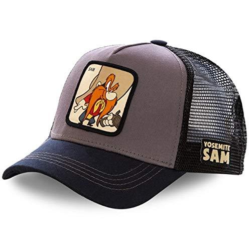 Gorra Snapback Gorra de béisbol de algodón Hombres Mujeres Hip Hop Dad Mesh Hat Trucker-Sam Gray