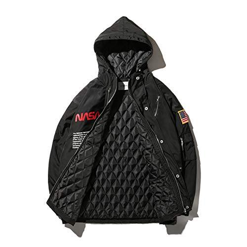 NASA Bomber Classic Flight Veste Homme Chaud Épaissir Loisirs Jacket Manches Longues Coupe-Vent Étanche,Noir,S