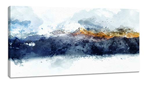 Canvas Wall Art for Bedroom Abstract Art Living Room Modern Navy Blue Abstract Mountains Print Poster Picture Artworks for Bathroom Kitchen Wall Decor 1 Pieces Framed Ready to Hang 24