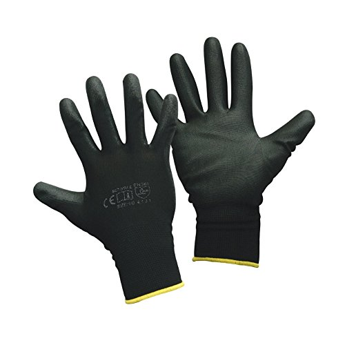 Montagehandschuhe - 12 Paar - Arbeitshandschuhe - Farbe: schwarz - 6 (XS)
