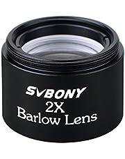Svbony Lente de Barlow Acromática,Ocular Plossl con Gran Amplicación 2X de 31,7mm1,25 Lente óptica para Telescopio Universal